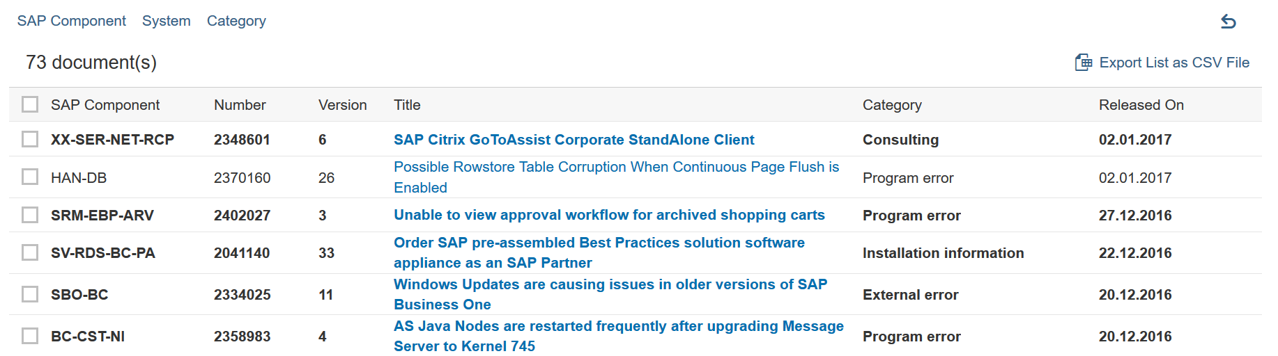 SAP HotNews in the Support Portal