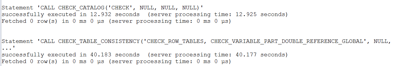 Query result showing no database corruption
