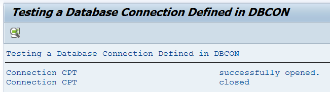 ABDC_TEST_CONNETION output for a working connection
