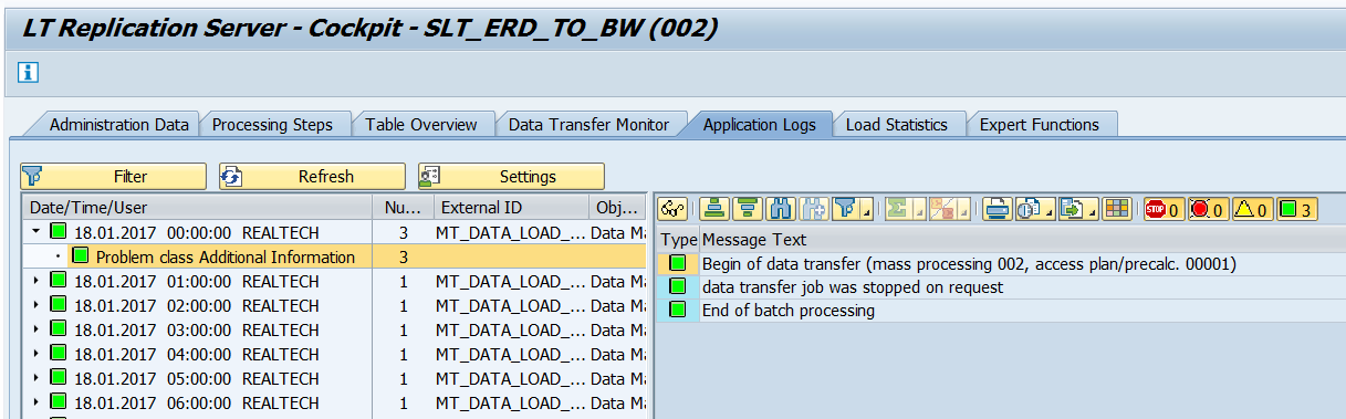 Application logs on LTRC transaction