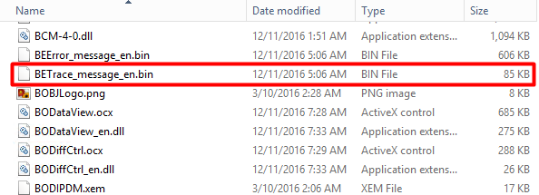 File on the bin directory for trace log