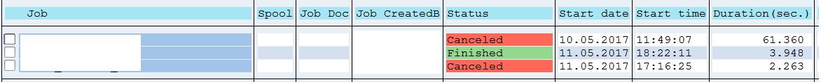 Job execution on QAS system