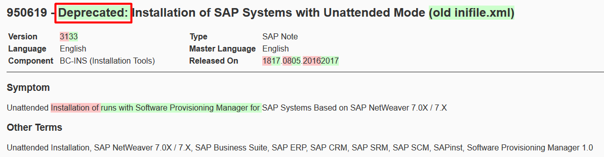 Differences between version 31 and 33 of SAP Note 950619