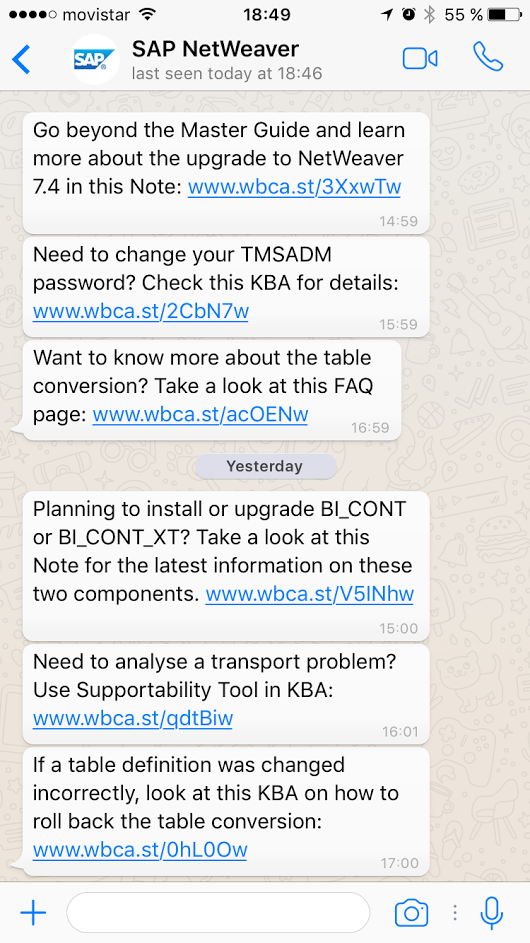 Messages sent by the Broadcast List