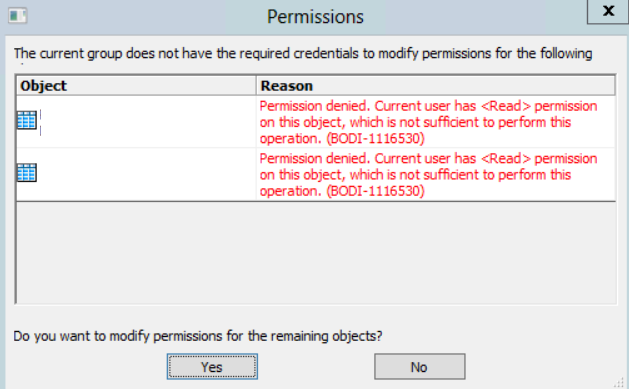 Error message when modifying permissions in the parent object