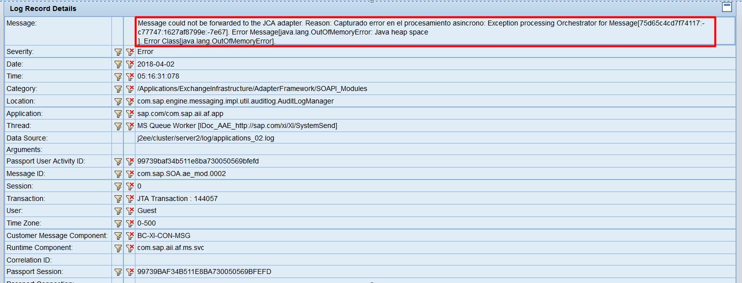 OOM error message in SAP NWA Log Viewer